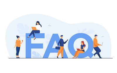 Tiny people sitting and standing near giant FAQ isolated flat vector illustration. Cartoon users asking questions and getting answers. Help, instruction and support information concept